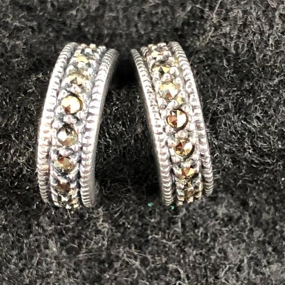 21918d200 Judith Jack Jewelry | Silver Marcasite Half Hoop Earrings | Poshmark